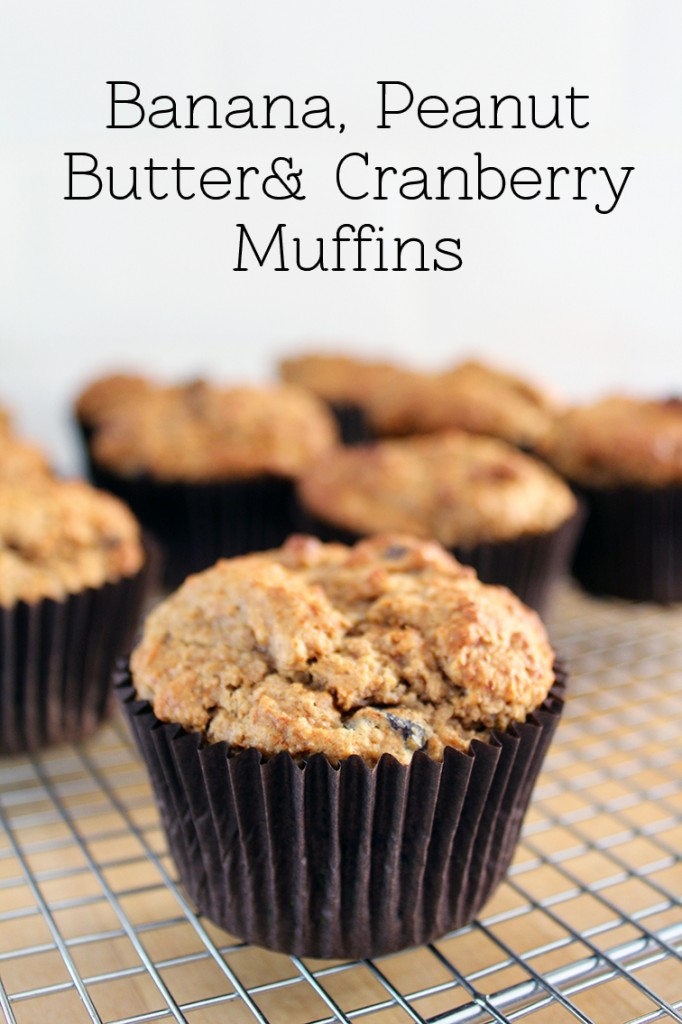 Banana Peanut Butter and Cranberry Muffins 1