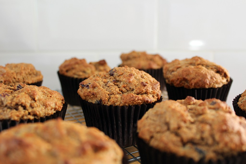 Banana Peanut Butter and Cranberry Muffins 2