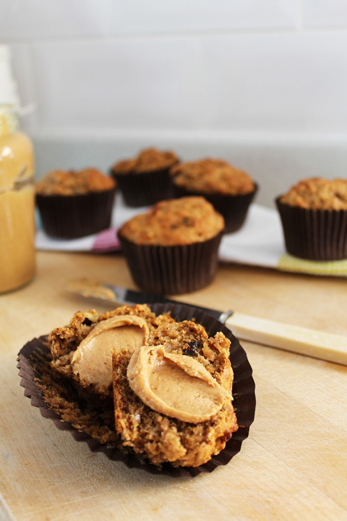 Banana Peanut Butter and Cranberry Muffins 4